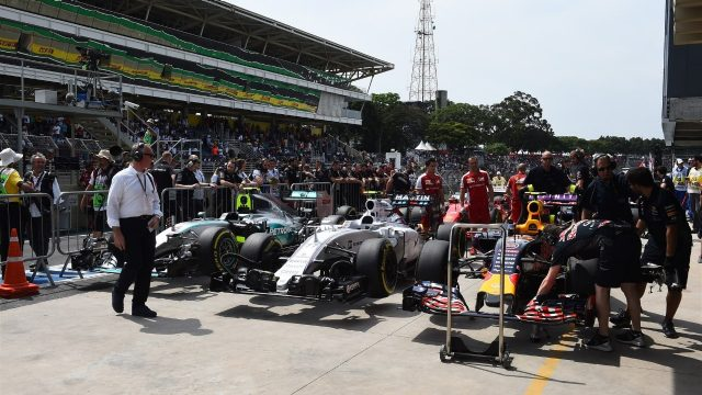 Cars in parc ferme at Formula One World Championship, Rd18, Brazilian Grand Prix, Qualifying, Interlagos, Sao Paulo, Brazil, Saturday 14 November 2015. &copy&#x3b; Sutton Motorsport Images