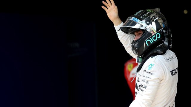 Pole sitter Nico Rosberg (GER) Mercedes AMG F1 celebrates in parc ferme at Formula One World Championship, Rd18, Brazilian Grand Prix, Qualifying, Interlagos, Sao Paulo, Brazil, Saturday 14 November 2015. &copy&#x3b; Sutton Motorsport Images