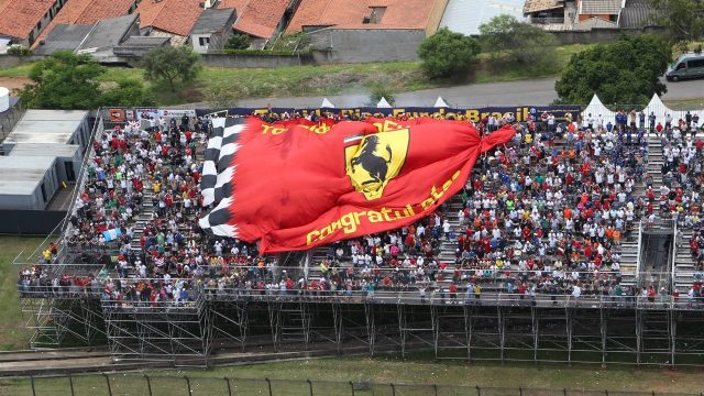 Fans and Flag at Formula One World Championship, Rd18, Brazilian Grand Prix, Race, Interlagos, Sao Paulo, Brazil, Sunday 15 November 2015. &copy&#x3b; Sutton Motorsport Images