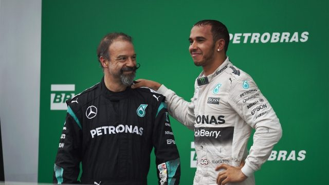 Lewis Hamilton (GBR) Mercedes AMG F1 and  James Waddell (GBR) Mercedes AMG F1 Race Team Composite Technician on the podium at Formula One World Championship, Rd18, Brazilian Grand Prix, Race, Interlagos, Sao Paulo, Brazil, Sunday 15 November 2015. &copy&#x3b; Sutton Motorsport Images
