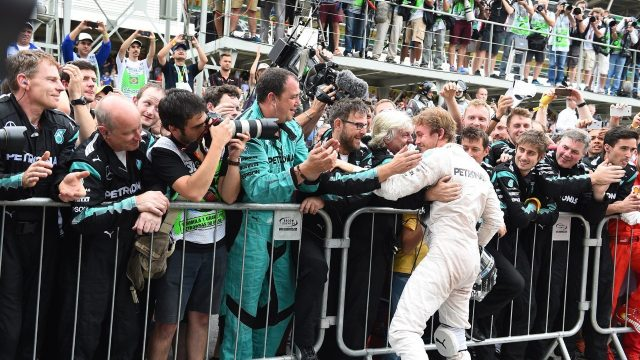 Race winner Nico Rosberg (GER) Mercedes AMG F1 celebrates in parc ferme at Formula One World Championship, Rd18, Brazilian Grand Prix, Race, Interlagos, Sao Paulo, Brazil, Sunday 15 November 2015. &copy&#x3b; Sutton Motorsport Images