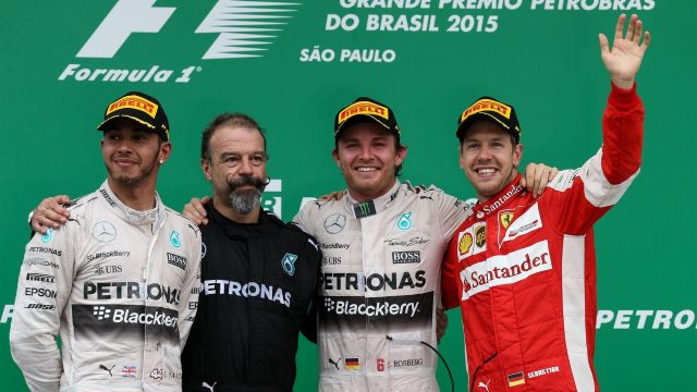 (L to R): Lewis Hamilton (GBR) Mercedes AMG F1, James Waddell (GBR) Mercedes AMG F1 Race Team Composite Technician, race winner Nico Rosberg (GER) Mercedes AMG F1 and Sebastian Vettel (GER) Ferrari celebrate on the podium at Formula One World Championship, Rd18, Brazilian Grand Prix, Race, Interlagos, Sao Paulo, Brazil, Sunday 15 November 2015. &copy&#x3b; Sutton Motorsport Images