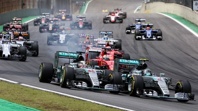 Nico Rosberg (GER) Mercedes AMG F1 W06 and Lewis Hamilton (GBR) Mercedes AMG F1 W06 at the start of the race at Formula One World Championship, Rd18, Brazilian Grand Prix, Race, Interlagos, Sao Paulo, Brazil, Sunday 15 November 2015. &copy&#x3b; Sutton Motorsport Images