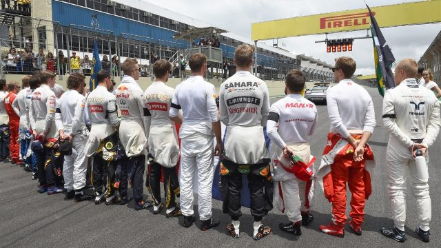 Driver group on the grid at Formula One World Championship, Rd18, Brazilian Grand Prix, Race, Interlagos, Sao Paulo, Brazil, Sunday 15 November 2015. &copy&#x3b; Sutton Motorsport Images