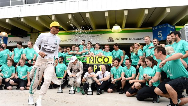 Lewis Hamilton (GBR) Mercedes AMG F1 and Nico Rosberg (GER) Mercedes AMG F1  during the team celebration at Formula One World Championship, Rd18, Brazilian Grand Prix, Race, Interlagos, Sao Paulo, Brazil, Sunday 15 November 2015. &copy&#x3b; Sutton Motorsport Images