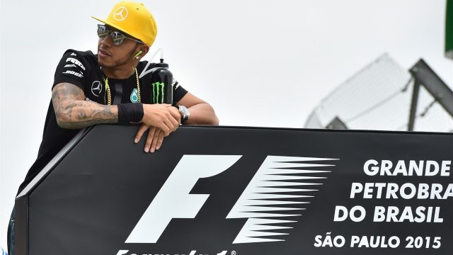 Lewis Hamilton (GBR) Mercedes AMG F1 on the drivers parade at Formula One World Championship, Rd18, Brazilian Grand Prix, Race, Interlagos, Sao Paulo, Brazil, Sunday 15 November 2015. &copy&#x3b; Sutton Motorsport Images