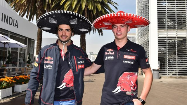 Carlos Sainz (ESP) Scuderia Toro Rosso and Max Verstappen (NDL) Scuderia Toro Rosso at Formula One World Championship, Rd17, Mexican Grand Prix, Preparations, Circuit Hermanos Rodriguez, Mexico City, Mexico, Thursday 29 October 2015. &copy&#x3b; Sutton Motorsport Images