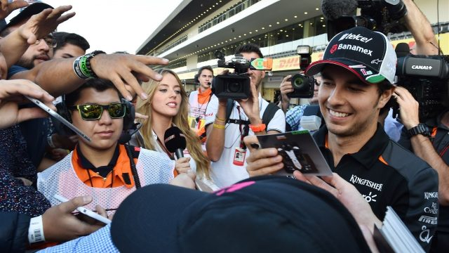 Sergio Perez (MEX) Force India signs autographs for the fans Formula One World Championship, Rd17, Mexican Grand Prix, Preparations, Circuit Hermanos Rodriguez, Mexico City, Mexico, Thursday 29 October 2015. &copy&#x3b; Sutton Motorsport Images