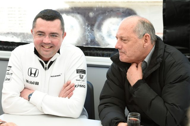 Ron Dennis (GBR) McLaren Executive Chairman and Eric Boullier (FRA) McLaren F1 Team Principal at Formula One Testing, Day One, Jerez, Spain, 1 February 2015. &copy&#x3b; Sutton Motorsport Images