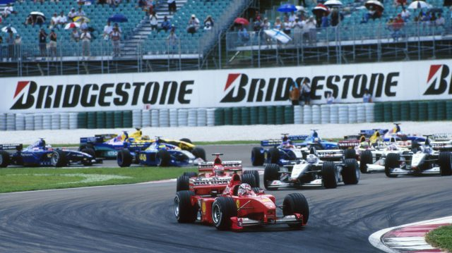 Schumacher leads at the start