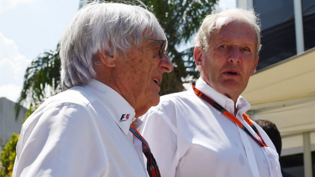 Bernie Ecclestone (GBR) CEO Formula One Group (FOM) and Dr Helmut Marko (AUT) Red Bull Motorsport Consultant at Formula One World Championship, Rd2, Malaysian Grand Prix, Qualifying, Sepang, Malaysia, Saturday 28  March 2015. &copy&#x3b; Sutton Motorsport Images