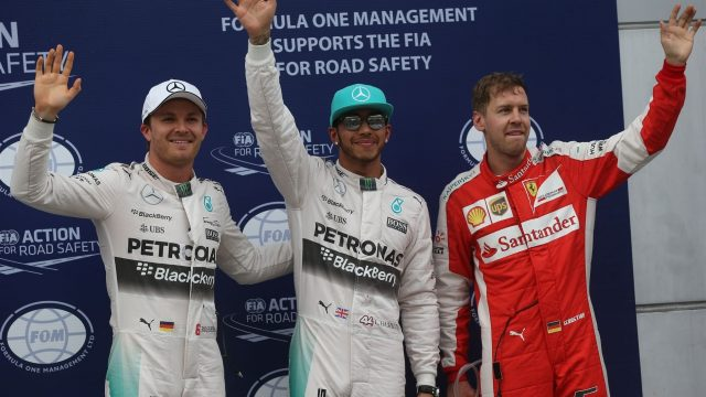 (L to R): Third placed Nico Rosberg (GER) Mercedes AMG F1, pole sitter Lewis Hamilton (GBR) Mercedes AMG F1 and second placed Sebastian Vettel (GER) Ferrari celebrates in parc ferme at Formula One World Championship, Rd2, Malaysian Grand Prix, Qualifying, Sepang, Malaysia, Saturday 28  March 2015. &copy&#x3b; Sutton Motorsport Images