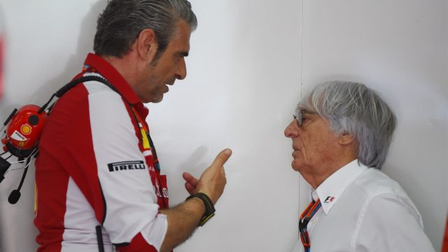 Maurizio Arrivabene (ITA) Ferrari Team Principal talks with Bernie Ecclestone (GBR) CEO Formula One Group (FOM) in the Ferrari garage at Formula One World Championship, Rd2, Malaysian Grand Prix, Qualifying, Sepang, Malaysia, Saturday 28  March 2015. &copy&#x3b; Sutton Motorsport Images