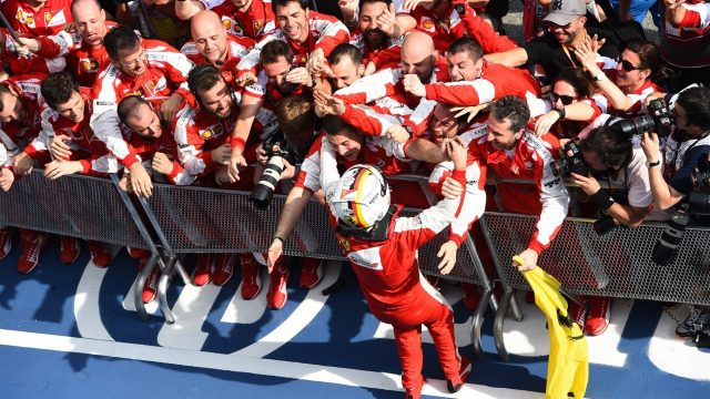 Sebastian Vettel (GER) Ferrari celebrates victory in Parc Ferme at Formula One World Championship, Rd2, Malaysian Grand Prix, Race, Sepang, Malaysia, Sunday 29 March 2015. &copy&#x3b; Sutton Motorsport Images
