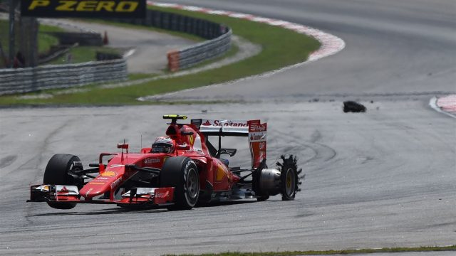 Kimi Raikkonen (FIN) Ferrari SF15-T with puncture at Formula One World Championship, Rd2, Malaysian Grand Prix, Race, Sepang, Malaysia, Sunday 29 March 2015. &copy&#x3b; Sutton Motorsport Images