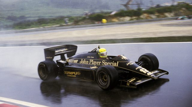 Ayrton Senna (BRA) Lotus 97T dominated the race in appalling conditions to claim his first Grand Prix victory. 
