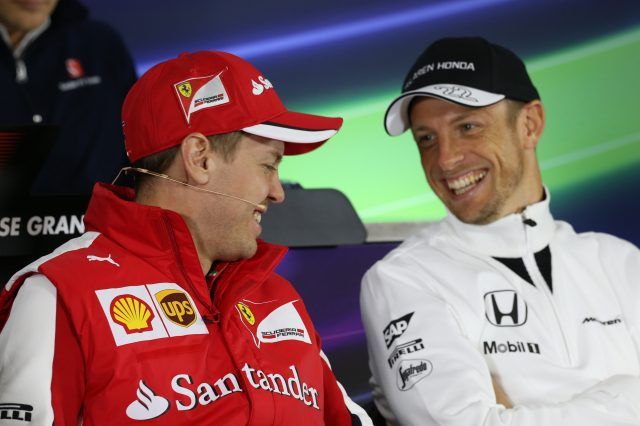 Sebastian Vettel (GER) Ferrari and Jenson Button (GBR) McLaren in the Press Conference at Formula One World Championship, Rd3, Chinese Grand Prix, Preparations, Shanghai, China, Thursday 9 April 2015. &copy&#x3b; Sutton Motorsport Images