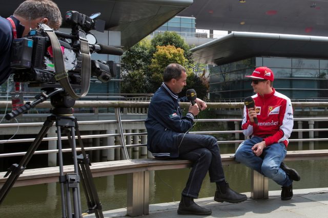 Kimi Raikkonen (FIN) Ferrari talks with Rai Sport at Formula One World Championship, Rd3, Chinese Grand Prix, Preparations, Shanghai, China, Thursday 9 April 2015. &copy&#x3b; Sutton Motorsport Images