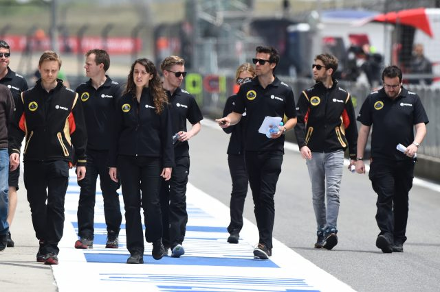 Jolyon Palmer (GBR) Lotus Test and Reserve Driver and Romain Grosjean (FRA) Lotus at Formula One World Championship, Rd3, Chinese Grand Prix, Preparations, Shanghai, China, Thursday 9 April 2015. &copy&#x3b; Sutton Motorsport Images