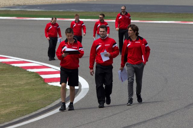Roberto Merhi (ESP) Marussia walks the track at Formula One World Championship, Rd3, Chinese Grand Prix, Preparations, Shanghai, China, Thursday 9 April 2015. &copy&#x3b; Sutton Motorsport Images