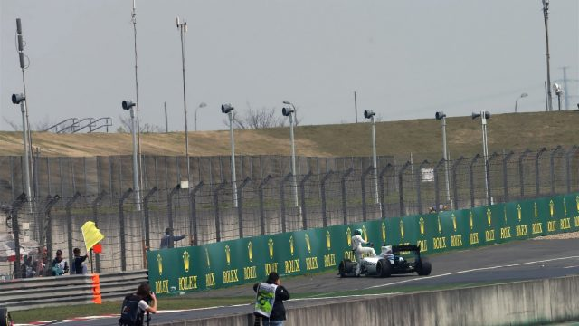 Felipe Massa (BRA) Williams FW37 stops on track after spinning in Free Practice Two at Formula One World Championship, Rd3, Chinese Grand Prix, Practice, Shanghai, China, Friday 10 April 2015. &copy&#x3b; Sutton Motorsport Images
