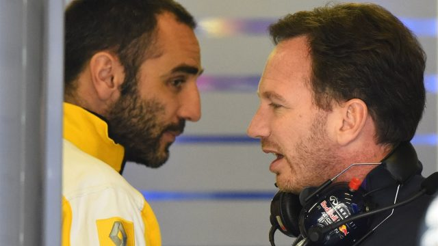 Cyril Abiteboul (FRA) Renault Sport talks with Christian Horner (GBR) Red Bull Racing Team Principal in the Red Bull Racing garage at Formula One World Championship, Rd3, Chinese Grand Prix, Practice, Shanghai, China, Friday 10 April 2015. &copy&#x3b; Sutton Motorsport Images