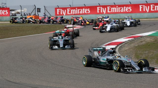 Lewis Hamilton (GBR) Mercedes AMG F1 W06 leads at the start of the race at Formula One World Championship, Rd3, Chinese Grand Prix, Race, Shanghai, China, Sunday 12 April 2015. &copy&#x3b; Sutton Motorsport Images
