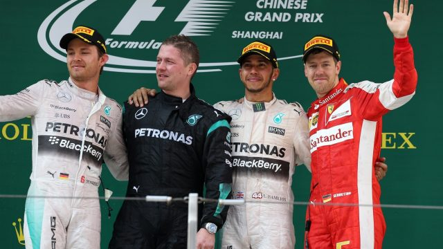 (L to R): Nico Rosberg (GER) Mercedes AMG F1, Lewis Hamilton (GBR) Mercedes AMG F1 and Sebastian Vettel (GER) Ferrari celebrate on the podium at Formula One World Championship, Rd3, Chinese Grand Prix, Race, Shanghai, China, Sunday 12 April 2015. &copy&#x3b; Sutton Motorsport Images