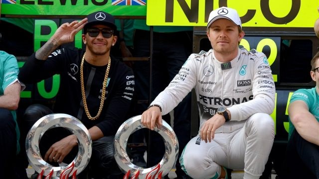 Lewis Hamilton (GBR) Mercedes AMG F1 and Nico Rosberg (GER) Mercedes AMG F1 during the team celebration at Formula One World Championship, Rd3, Chinese Grand Prix, Race, Shanghai, China, Sunday 12 April 2015. &copy&#x3b; Sutton Motorsport Images