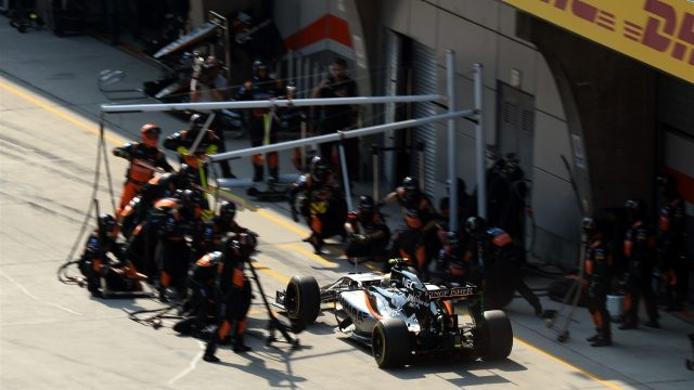 Sergio Perez (MEX) Force India VJM08 pit stop at Formula One World Championship, Rd3, Chinese Grand Prix, Race, Shanghai, China, Sunday 12 April 2015. &copy&#x3b; Sutton Motorsport Images