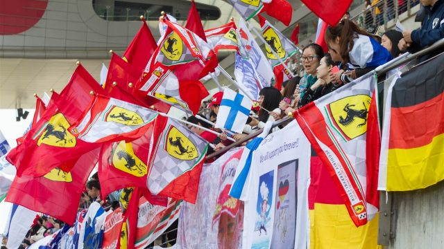 Fans with flags on the main grandstand at Formula One World Championship, Rd3, Chinese Grand Prix, Race, Shanghai, China, Sunday 12 April 2015. &copy&#x3b; Sutton Motorsport Images