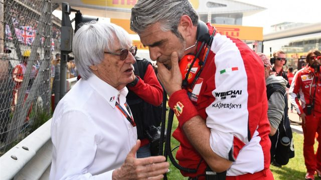 Bernie Ecclestone (GBR) CEO Formula One Group (FOM) talks to Maurizio Arrivabene (ITA) Ferrari Team Principal on the grid at Formula One World Championship, Rd3, Chinese Grand Prix, Race, Shanghai, China, Sunday 12 April 2015. &copy&#x3b; Sutton Motorsport Images