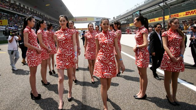 Grid girls at Formula One World Championship, Rd3, Chinese Grand Prix, Race, Shanghai, China, Sunday 12 April 2015. &copy&#x3b; Sutton Motorsport Images