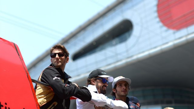 Romain Grosjean (FRA) Lotus F1 at the drivers parade at Formula One World Championship, Rd3, Chinese Grand Prix, Race, Shanghai, China, Sunday 12 April 2015. &copy&#x3b; Sutton Motorsport Images