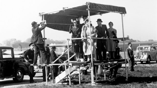 The Royal family watch on from the royal box. 1950 British Grand Prix