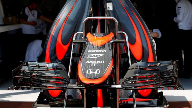 McLaren MP4-30 nose and front wings at Formula One World Championship, Rd6, Monaco Grand Prix Preparations, Monte-Carlo, Monaco, Wednesday 20 May 2015. &copy&#x3b; Sutton Motorsport Images