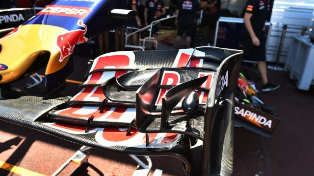 Scuderia Toro Rosso STR10 front wing detail at Formula One World Championship, Rd6, Monaco Grand Prix Preparations, Monte-Carlo, Monaco, Wednesday 20 May 2015. &copy&#x3b; Sutton Motorsport Images