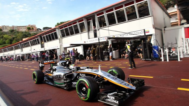 Sergio Perez (MEX) Force India VJM08 at Formula One World Championship, Rd6, Monaco Grand Prix Practice, Monte-Carlo, Monaco, Thursday 21  May 2015. &copy&#x3b; Sutton Motorsport Images