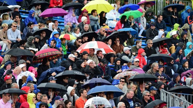 Fans and umbrellas at Formula One World Championship, Rd6, Monaco Grand Prix Practice, Monte-Carlo, Monaco, Thursday 21  May 2015. &copy&#x3b; Sutton Motorsport Images
