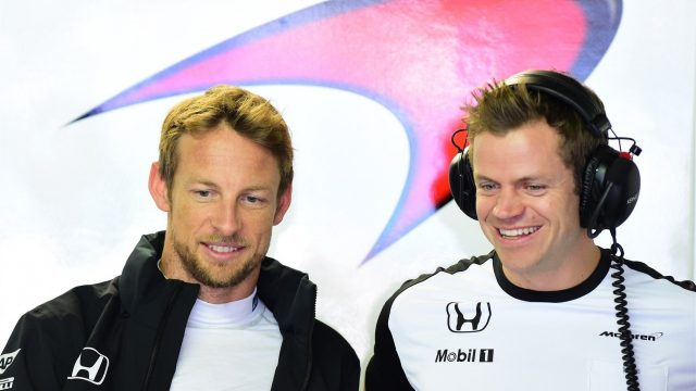 Jenson Button (GBR) McLaren with his trainer Mike Collier (GBR) at Formula One World Championship, Rd6, Monaco Grand Prix Practice, Monte-Carlo, Monaco, Thursday 21  May 2015. &copy&#x3b; Sutton Motorsport Images
