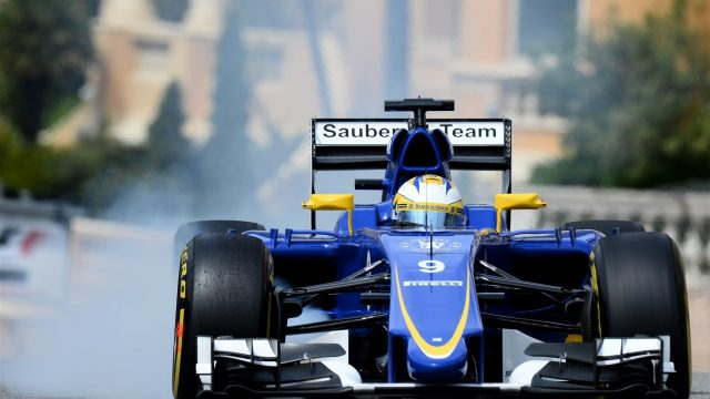 Marcus Ericsson (SWE) Sauber C34 locks up at Formula One World Championship, Rd6, Monaco Grand Prix Practice, Monte-Carlo, Monaco, Thursday 21  May 2015. &copy&#x3b; Sutton Motorsport Images