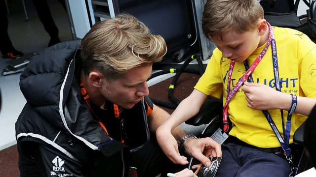 Nico Hulkenberg (GER) Force India F1 with Starlight Childrens Foundation guest at Formula One World Championship, Rd6, Monaco Grand Prix, Monte-Carlo, Monaco, Friday 22 May 2015. &copy&#x3b; Sutton Motorsport Images