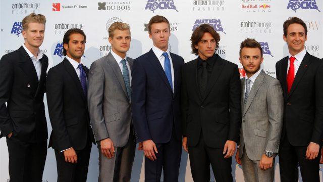 (L to R): Nico Hulkenberg (GER) Force India F1, Felipe Nasr (BRA) Sauber, Marcus Ericsson (SWE) Sauber, Daniil Kyvat (RUS) Red Bull Racing, Roberto Merhi (ESP) Marussia, Will Stevens (GBR) Marussia and Esteban Gutierrez (MEX) Ferrari Test and Reserve Driver at Amber Lounge Fashion Show, Le Meridien Beach Plaza, Monte Carlo, Monaco, 22 May 2015. &copy&#x3b; Sutton Motorsport Images