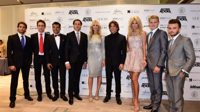 (L to R): nfp, Esteban Gutierrez (MEX) Ferrari Test and Reserve Driver, Adrian Sutil (GER) Williams Reserve Driver, Marcus Ericsson (SWE) Sauber, Roberto Merhi (ESP) Marussia, Victoria Silvstedt, Marcus Ericsson (SWE) Sauber, Will Stevens (GBR) Marussia and Daniil Kyvat (RUS) Red Bull Racing at Amber Lounge Fashion Show, Le Meridien Beach Plaza, Monte Carlo, Monaco, 22 May 2015. &copy&#x3b; Sutton Motorsport Images