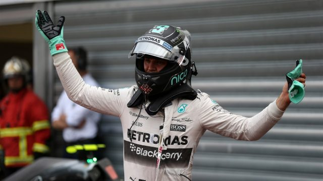 Nico Rosberg (GER) Mercedes AMG F1 celebrates in parc ferme at Formula One World Championship, Rd6, Monaco Grand Prix Qualifying, Monte-Carlo, Monaco, Saturday 23 May 2015. &copy&#x3b; Sutton Motorsport Images