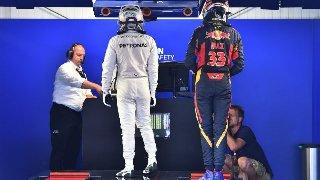 Lewis Hamilton (GBR) Mercedes AMG F1 and Max Verstappen (NDL) Scuderia Toro Rosso on the weighing scales in parc ferme at Formula One World Championship, Rd6, Monaco Grand Prix Qualifying, Monte-Carlo, Monaco, Saturday 23 May 2015. &copy&#x3b; Sutton Motorsport Images