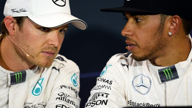 Nico Rosberg (GER) Mercedes AMG F1 and Lewis Hamilton (GBR) Mercedes AMG F1 at the Qualifying Press Conference at Formula One World Championship, Rd6, Monaco Grand Prix Qualifying, Monte-Carlo, Monaco, Saturday 23 May 2015. &copy&#x3b; Sutton Motorsport Images
