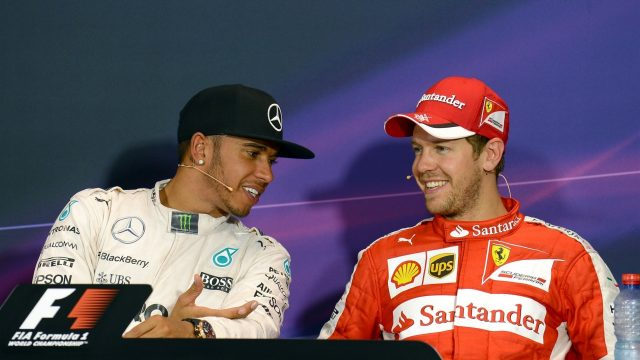 Pole sitter Lewis Hamilton (GBR) Mercedes AMG F1 and Sebastian Vettel (GER) Ferrari at the Qualifying Press Conference at Formula One World Championship, Rd6, Monaco Grand Prix Qualifying, Monte-Carlo, Monaco, Saturday 23 May 2015. &copy&#x3b; Sutton Motorsport Images