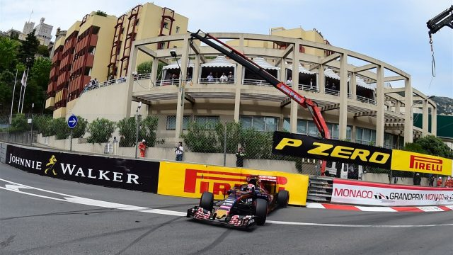 Max Verstappen (NDL) Scuderia Toro Rosso STR10 spins and hits the barrier in FP3 at Formula One World Championship, Rd6, Monaco Grand Prix, FP3 , Monte-Carlo, Monaco, Saturday 23 May 2015. &copy&#x3b; Sutton Motorsport Images