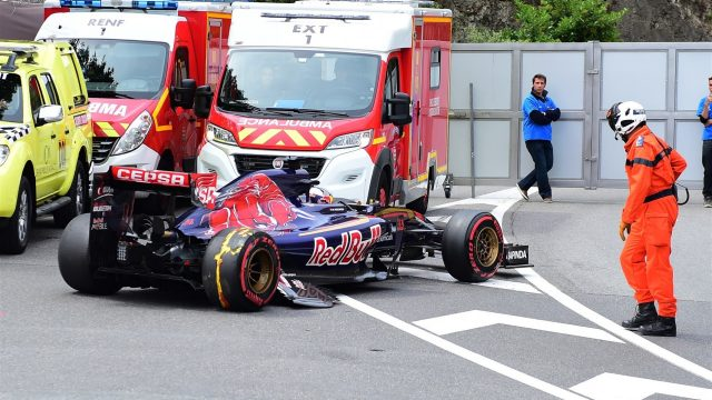 Max Verstappen (NDL) Scuderia Toro Rosso STR10 hit the barrier in FP3 at Formula One World Championship, Rd6, Monaco Grand Prix, FP3 , Monte-Carlo, Monaco, Saturday 23 May 2015. &copy&#x3b; Sutton Motorsport Images